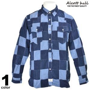 特価商品 50%OFF ALCOTT HILL アルコットヒル 長袖パッチワークシャツ メンズ 秋冬 コールテン 水色 87-1006-10-49|realtree