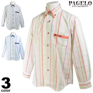 パジェロ PAGELO 長袖ボタンダウンシャツ メンズ 2020春夏 ストライプ 薄手 03-1114-07 realtree