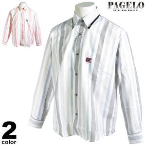 パジェロ PAGELO 長袖ボタンダウンシャツ メンズ 2020春夏 ストライプ 薄手 ロゴ刺繍 03-1118-07 realtree