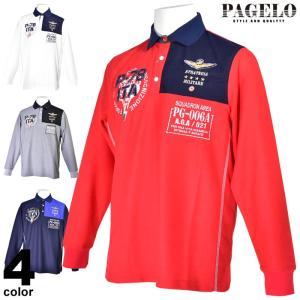 セール 60%OFF パジェロ PAGELO 長袖ポロシャツ メンズ 春夏 ロゴ アップリケ 刺繍 03-1801-07|realtree