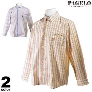 パジェロ PAGELO 長袖ボタンダウンシャツ メンズ 2020春夏 ストライプ 小花柄切替 03-1133-07 realtree