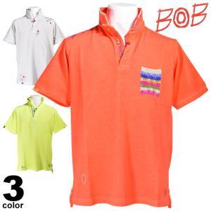 BOB ボブ 半袖ポロシャツ メンズ 2019春夏 鹿の子 刺繍 94-2802-59|realtree