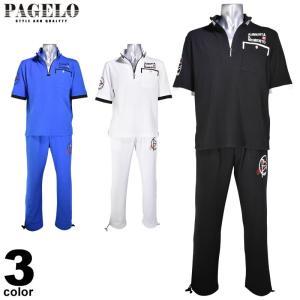 パジェロ PAGELO カットソー上下セット(半・長) メンズ 2020春夏 ハーフジップ ロゴ刺繍 03-6220-07|realtree