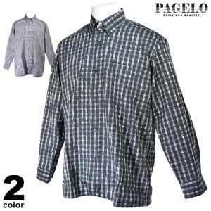 パジェロ PAGELO 長袖カジュアルシャツ メンズ 2019秋冬 ボタンダウン ストライプ 95-1103-06 realtree