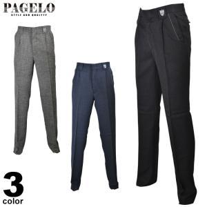 パジェロ PAGELO ロングパンツ メンズ 2019秋冬 スラックス ワンタック ロゴ 95-5107-07|realtree