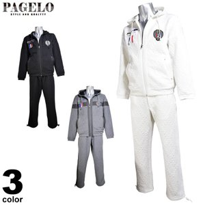 パジェロ PAGELO スウェット上下セット メンズ 2019秋冬 ジップアップ サイドライン ロゴアップリケ 95-6105-06|realtree