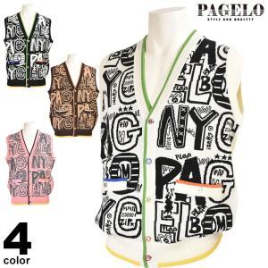 パジェロ PAGELO ニットベスト メンズ 2019秋冬 英字 ロゴ 95-7501-07|realtree