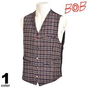 SALE 30%OFF ボブ BOB ベスト メンズ 秋冬 チェック インポート ロゴ 98-3502-59|realtree