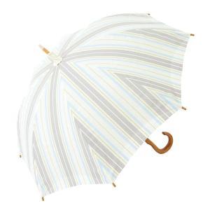 日傘 長日傘 完全遮光 遮熱 かわず張り 特殊2重張り製法 木棒 ボーダー ナチュラル 女性用日傘 長日傘 (ドットストライプ)|reap