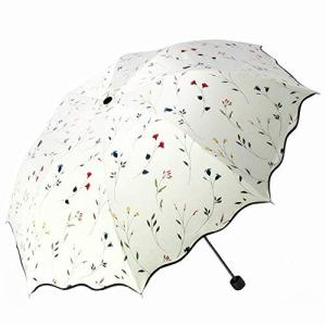 QIJOVO 折り畳み傘 強度 8本骨 折りたたみ傘 花柄 晴雨兼用 日傘 UVカット 紫外線遮蔽率99% 高密度NC布 耐風撥水 収納ポー|reap