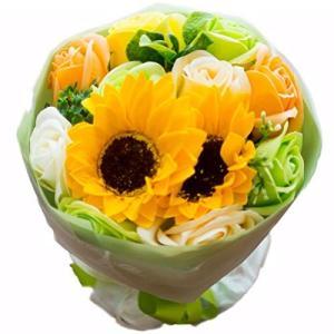 フレグランス ソープフラワー シャボンフラワー 夏にぴったり ひまわり&ローズ 花束 ブーケ FPP-808 (グリーン) reap