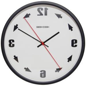 反転 壁掛け 時計 反対 逆回転 反時計回り 鏡面 鏡 逆転 メタル 金属 ウォール クロック 化粧鏡 インテリア 雑貨 ブラック NS-GYCLOCK-BK|rebias
