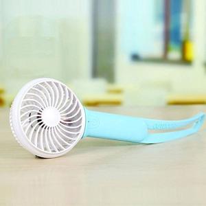 充電 ハンディ ファン モバイル うちわ ポータブル USB 扇風機 LEDライト モバイルバッテリー ブルー NS-HAND-FOLDFAN-BL|rebias