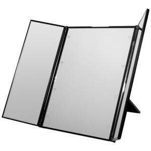 卓上 LEDライト ミラー 鏡 卓上 三面鏡 メイクミラー 化粧鏡 卓上ミラー ブライトニングミラー ハート型 LED ブラック NS-LED-3MR-BK|rebias