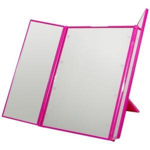 卓上 LEDライト ミラー 鏡 卓上 三面鏡 メイクミラー 化粧鏡 卓上ミラー ブライトニングミラー ハート型 LED ピンク NS-LED-3MR-PK|rebias