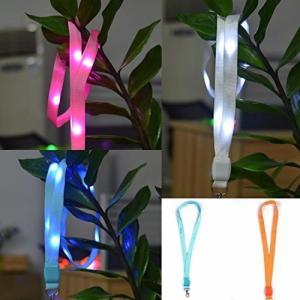 LED ネックストラップ 光る 発光 イベント ライブ コンサート パスケース ペンライト クラブ ピンク NS-LED-STRAP-PK|rebias