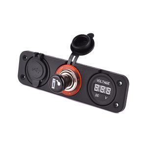 3連 マルチ パネル 電圧計 シガーソケット USB 一体パネル 充電 スマホ タブレット 5V 1A 2.1A スリー スターズ 内装|rebias