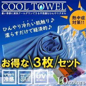 クール タオル 3枚 セット 熱中症対策 ひんやり 冷感 UVカット 紫外線 日焼け メッシュ 吸汗 エコ アウトドア スポーツ COOL|rebias