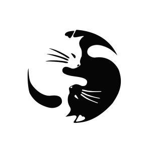 陰陽 にゃんこ ステッカー 風水 白猫 黒猫 猫 cat 車 バイク 家電 インヤン ネコ|rebias