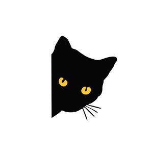 猫 ナイトアイ ステッカー みつめる猫 にゃんこ 猫目 黒猫 猫 cat 車 バイク 家電 ネコ|rebias