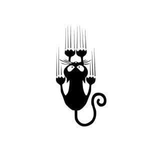 必死 にゃんこ ステッカー 滑る 白猫 黒猫 猫 cat 車 バイク 家電 引っかき ネコ|rebias
