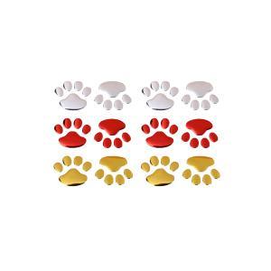 車 汎用 ステッカー 肉球 4個セット ペット シール 3D 立体 エンブレム  カスタム カーステッカー|rebias