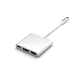 TYPE-C 変換アダプター HDMI USB3.0 Macbook ディスプレイ 出力 データ転送 充電 給電 トリプル ケーブル|rebias