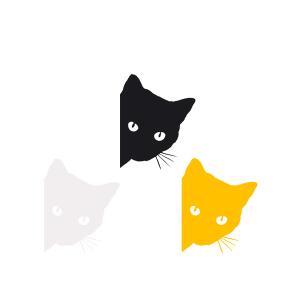 みつめる 猫 ステッカー ネコ CAT EYE 黒猫 キャット ペット 汎用 車 バイク カスタム sticker|rebias