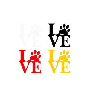 LOVE PET 犬 猫 肉球 ドッグ キャット ラブ ステッカー 切り抜き リアガラス 外装 sticker|rebias
