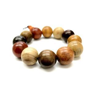 プリズムウッド ブレスレット 20mm 極上品 天然 数珠 木製 玉 ナチュラル ウッドビーズ 素材 装飾|rebias