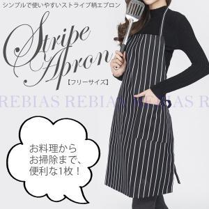 エプロン ストライプ フリーサイズ 男女兼用 料理 掃除 DIY 作業 縞模様 stripe apron|rebias