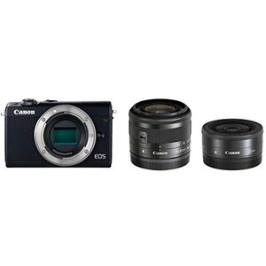 (中古品)Canon ミラーレス一眼カメラ EOS M100 ダブルレンズキット ブラック EOSM...