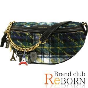 〔未使用品〕バレンシアガ/BALENCIAGA チェック チャーム スーベニアバッグ(ボディバッグ/ベルトバッグ) ウール×カーフ チェック柄(グリーン系) 518163|reborn-brand