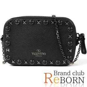 〔ただいま特別割引中!〕〔未使用品〕ヴァレンティノ/VALENTINO ロックスタッズ ミニ チェーンショルダーバッグ カーフレザー ブラック LW2P0654WSL reborn-brand