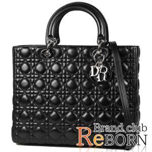 〔ただいま特別割引中!〕〔良品〕〔A+ランク〕ディオール/Dior レディディオール 2WAYハンドバッグ ラージ ラムスキン ブラック×シルバー金具 CAL44561|reborn-brand