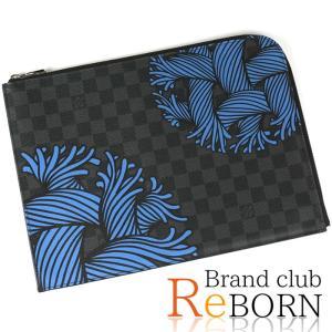 〔美品〕〔SAランク〕ルイ ヴィトン クリストファー・ネメス ポシェット・ジュールGM(クラッチバッグ) ダミエ・グラフィット ロープ ブルー N41685|reborn-brand
