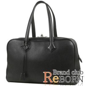 エルメス/HERMES ヴィクトリア2/ヴィクトリア35(ボストンバッグ) トリヨンクレマンス ブラック×シルバー金具 T刻印|reborn-brand