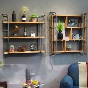 ウォールシェルフ ウォールラック おしゃれ アメリカン キッチン 石膏ボード 木製 アイアン rebuild-store