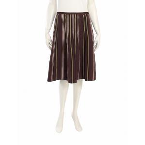 BCBG MAXAZRIA ビーシービージーマックスアズリア スカート フレア コットン混 ストライプ 刺繍 茶 レディース 中古 reclo-as-shopping