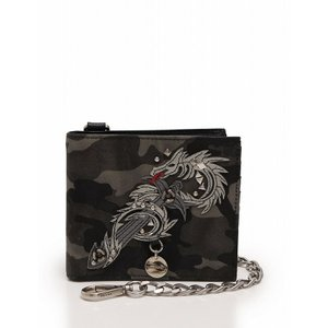 81a0290b6de5 プラダ PRADA 財布 二つ折り チェーン付 ドラゴンモチーフ カーキ グレー 黒 迷彩 カモフラ 2M0738 メンズ 中古