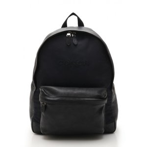 d5c9890d8398 コーチ COACH CAMPUS BACKPACK リュックサック バックパック ナイロン レザー ネイビー 黒 F71674 メンズ 中古