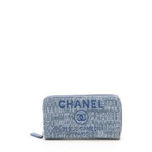 2cffcc6077db シャネル CHANEL ドーヴィル スモールジップウォレット ラウンドファスナー財布 ツイード 水色 グレー A84414 レディース 中古