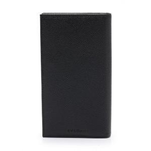 06ce6342af60 ブルガリ BVLGARI クラシコ 二つ折り長財布 レザー 黒 25752 メンズ 中古