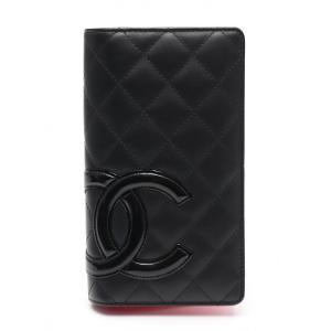 94ce70bc61e7 シャネル CHANEL カンボンライン 二つ折り長財布 レザー エナメルレザー 黒 A48660 レディース 中古