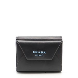 プラダ PRADA コンパクトウォレット 三つ折り財布 レザー 黒 水色 1MH023 メンズ 中古|reclo-as-shopping