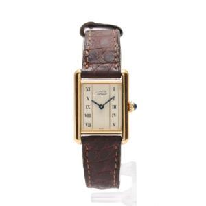 カルティエ Cartier マストタンクヴェルメイユ レディース 腕時計 クオーツ SV925 レザー ゴールド 茶 アイボリー文字盤 レディース 中古 reclo-as-shopping