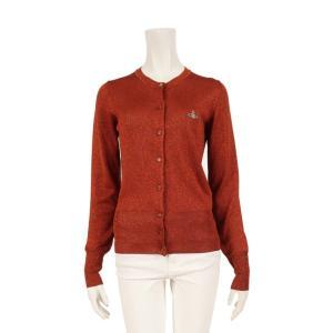 ヴィヴィアンウエストウッドレッドレーベル Vivienne Westwood Red Label オーブ カーディガン 長袖 クルーネック オレンジ ラメ レディース 中古|reclo-as-shopping