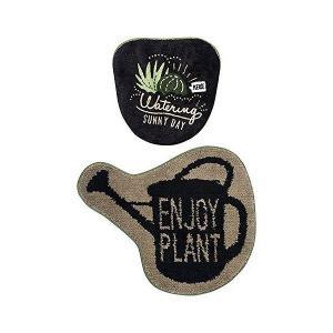 オカトー トイレセット 2点 洗浄暖房タイプ トイレマット 1枚 洗浄暖房 フタカバー 1枚 & Green ENJOY PLANT|recommendo
