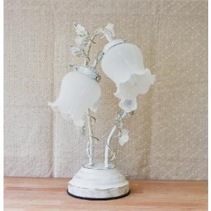 卓上ランプ ローズアームランプ2灯 ホワイト バラをモチーフとしたインテリア卓上ライト 3段階調光タッチセンサー式|recommendo