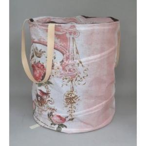 ラウンドBOX 折り畳める薔薇柄のランドリーボックス ピンク recommendo
